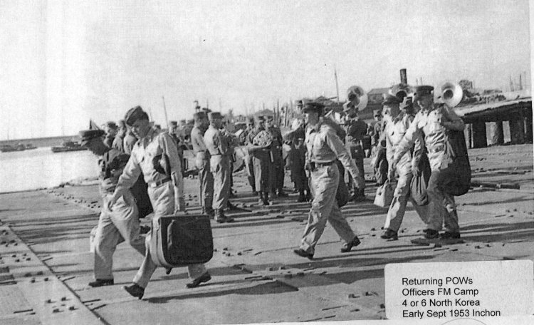 Returning POWs Officers from Camp 4 or 6, Inchon, Korea, Early September 2953