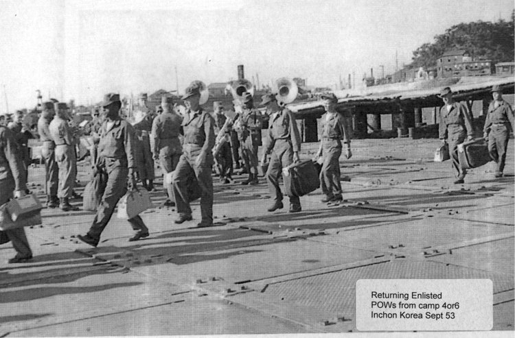 Returning Enlisted POWs from Camp 4 or 6, Inchon, Korea, September 2953